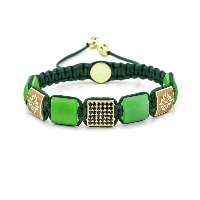 Goldhawk Road Jade Beaded & Macrame Bracelet